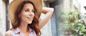 Female Wearing Sun Hat and Striped Shirt Outside In Garden - Form Widget for Desktop