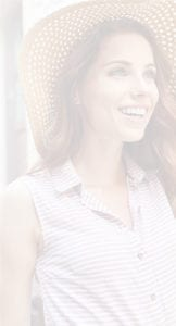 Female Wearing Sun Hat and Striped Shirt Outside In Garden - Gallery Slider Background For Mobile