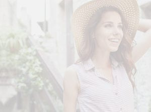 Female Wearing Sun Hat and Striped Shirt Outside In Garden - Gallery Slider Background For Tablet