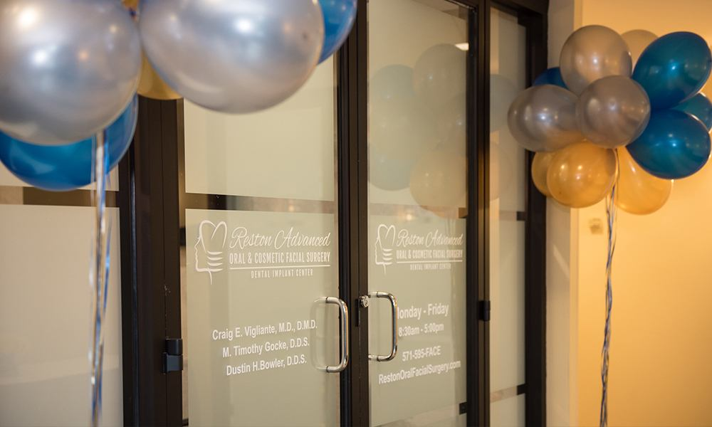 Front Doors of Reston Facial Surgery Center With Ballon Decorations